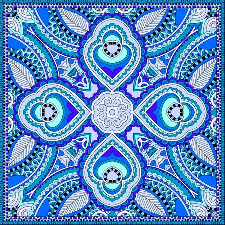 kerchief: blue silk neck scarf or kerchief square pattern design in ukrainian style for print on fabric , vintage illustration Illustration