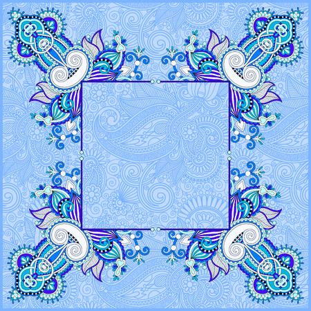 blue floral vintage frame, ukrainian ethnic style, illustration
