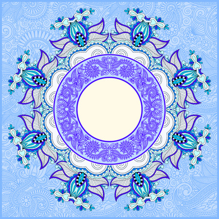 kilim: floral round pattern in ukrainian oriental ethnic style for your greeting card or invitation, template frame design for card, vintage lace doily in blue color, illustration