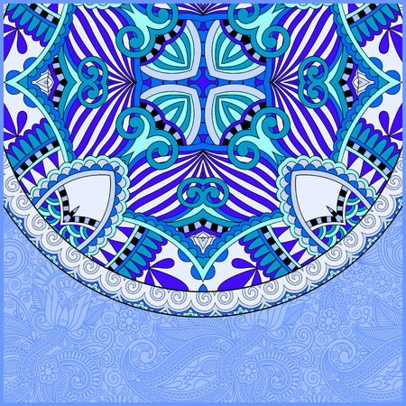 east: floral round pattern in ukrainian oriental ethnic style for your greeting card or invitation, template frame design for card in blue color, illustration Illustration