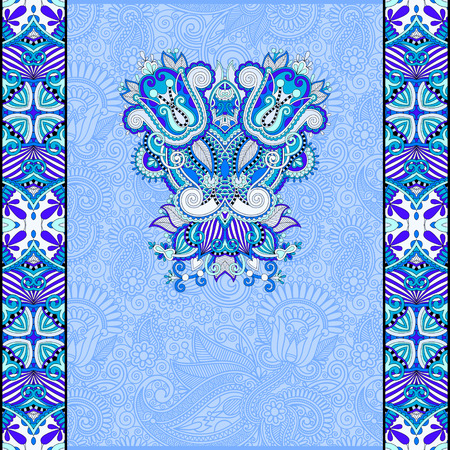 packing paper: paisley design on decorative floral background for invitation, packing paper, book cover, web page decoration and other in blue color, illustration