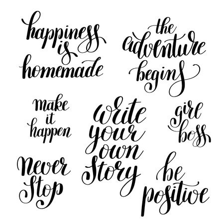 Positive Inspirational Quotes Beauteous Set Of Handwritten Positive Inspirational Quotes Brush Typography