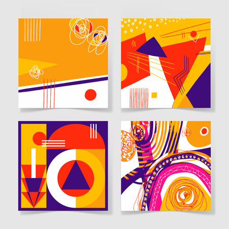 set of 4 posters with abstract trendy pattern background to wedding, birthday, printable wall art, greeting card, web design and other, hand draw illustration in bright colors