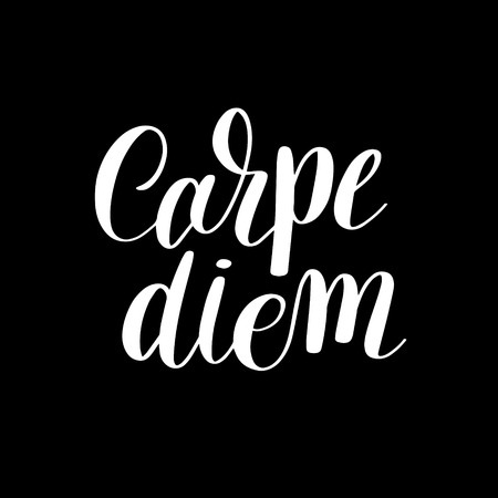 latin: Carpe diem hand written lettering positive quote inspirational latin phrase to printable wall art, positive poster, home decoration, greeting card, calligraphy vector illustration