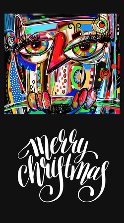 artwork painting: unusual original art merry christmas greeting card with digital painting artwork of doodle owl and handwritten lettering inscription, artistic vector illustration