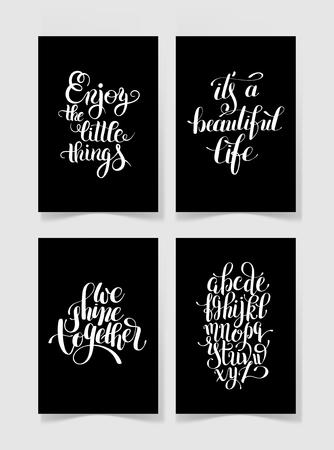 Conjunto De Cuatro En Blanco Y Negro Letras Escritas A Mano