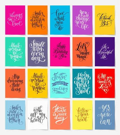 set of 20 calligraphy posters with hand lettering motivational and congratulation phrase in A4 format for print or web, typography collection illustration