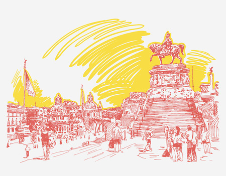 sketch hand drawing of Piazza Venezia in Rome - Altar of the Fatherland Italy, Vittorio Emanuele, Monument for Victor Emenuel II, famous cityscape, illustration
