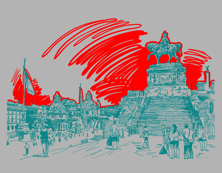 italy culture: sketch hand drawing of Piazza Venezia in Rome - Altar of the Fatherland Italy, Vittorio Emanuele, Monument for Victor Emenuel II, famous cityscape, illustration