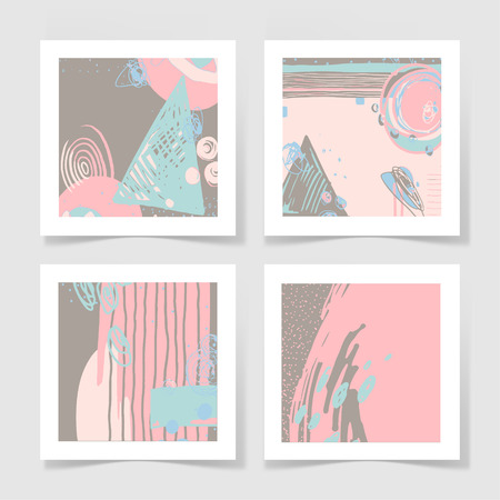 four pieces blank sheet of white paper with the shadow and pastel colors abstract pattern for your design
