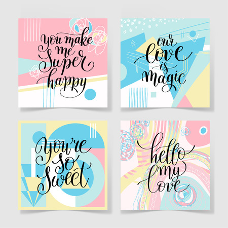 wall design: set of lettering quote about love collection to valentines day design or wedding invitation or printable wall art, poster, home decor and other, calligraphy illustration in pastel colors