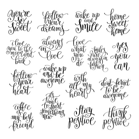 set of handwritten positive inspirational quotes brush typography to printable wall art, photo album design, home decor, love phrase, modern calligraphy illustration Vectores