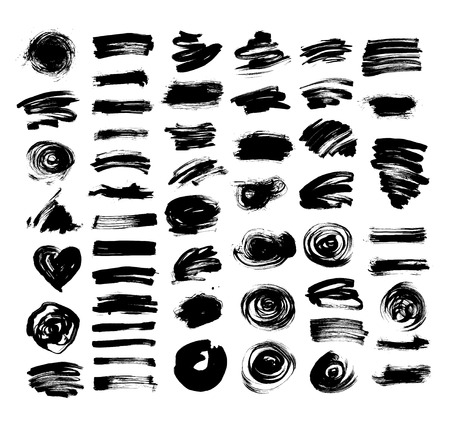 streak: set of 52 black ink hand drawing brushes collection isolated on white background for your design, brush strokes element illustration