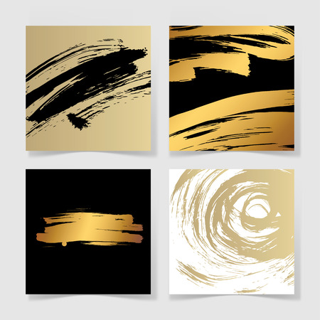 watercolor brush: set of four black and gold ink brushes grunge square pattern, hand drawing background collection for your design, brush strokes element illustration Illustration