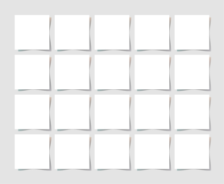 twenty: 20 pieces square blank sheet of white paper with the shadow for your design