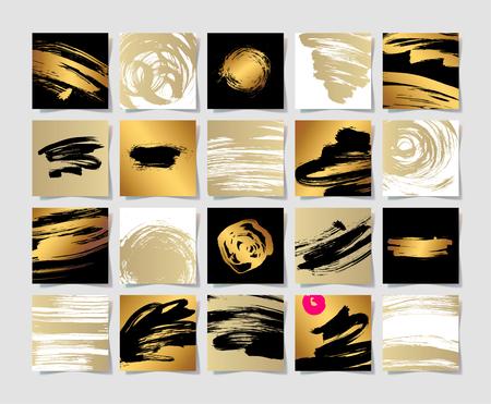 set di 20 pennelli bianco e oro nero inchiostro grunge modello quadrato, disegno a mano sfondo insieme per la progettazione, pennellate elemento illustrazione