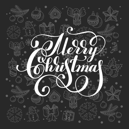 a holiday greeting: Merry Christmas calligraphic hand lettering on grey gift holiday ornamental background, greeting card