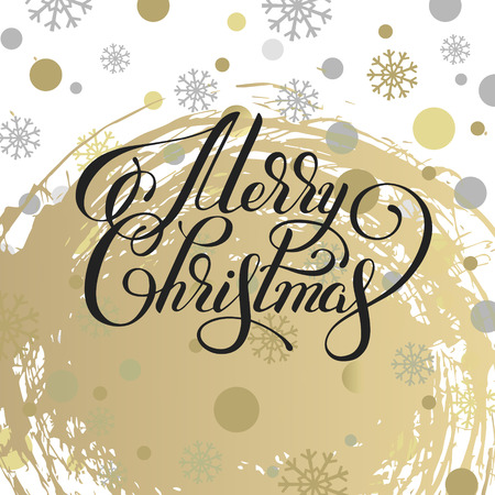 calligraph: merry christmas hand written calligraphy with snowflakes greeting card holiday design calligraph