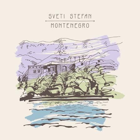 sveti: original sepia sketch drawing of Sveti Stefan island in Montenegro, Balkans, Adriatic sea, Europe, travel postcard illustration Illustration