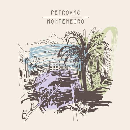 palm tree: sepia sketch drawing of Petrovac Montenegro street with palm, vintage touristic postcard, travel postcard illustration Illustration