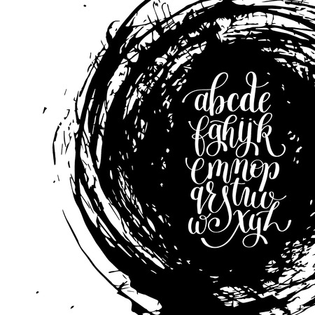 spots: black and white hand lettering alphabet design on brush stroke spot pattern, handwritten graphic script modern calligraphy cursive font illustration