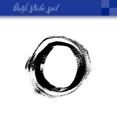 black ink abstract hand drawing brush strokes spot element isolated on white background for your design, calligraphy illustration Illustration