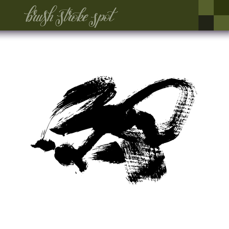 abstract black ink hand drawing brush strokes spot element isolated on white background for your design, illustration
