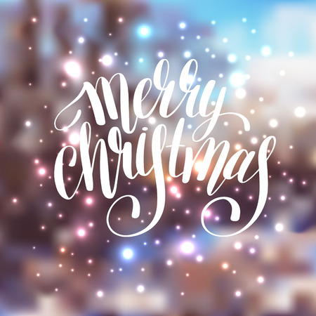 lighten: hand lettering written merry christmas holiday quote on blur landscape background with lighten effect, typography banner with brush script, greeting card