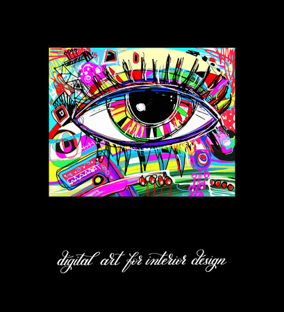 artwork painting: original contemporary digital eye painting artwork to printable wall art, interior design, poster, greeting card and book