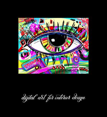 digital eye: original contemporary digital eye painting artwork to printable wall art, interior design, poster, greeting card and book