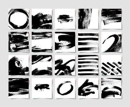 20 黒インク ブラシ グランジ正方形パターン、ブラシ ストロークの要素図設計に手描画バック グラウンド コレクションのセット  イラスト・ベクター素材