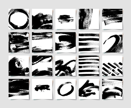Conjunto de 20 cepillos de tinta negra patrón de cuadrado de grunge, dibujo a mano colección de fondo para su diseño, pinceladas ilustración de elementos
