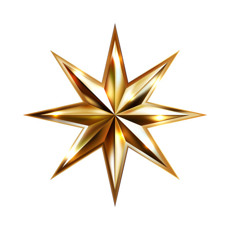 hand drawing gold star with eight rays elegant element isolated on white background, vector illustration