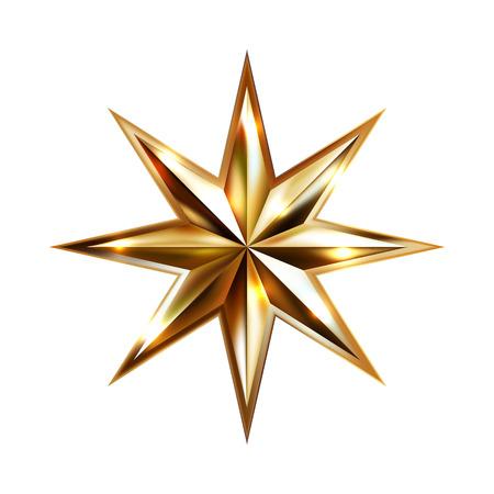 Handzeichnung Goldstern mit acht Strahlen elegante Element isoliert auf weißem Hintergrund, Vektor-Illustration Vektorgrafik