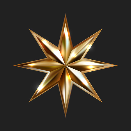 hand drawing gold star with eight rays elegant element isolated on black background, vector illustration