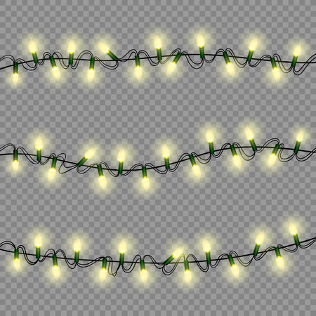 holiday garland: christmas lights luminous garland isolated realistic design elements for xmas holiday greeting card, poster, winter decoration, transparent vector illustration