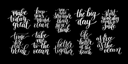 black and white inspirational phrase set, positive lettering composition collection, t-shirt print design, typographic quote poster, calligraphy vector illustration Illustration