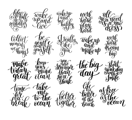 black and white inspirational phrase set, positive lettering composition collection, t-shirt print design, typographic quote poster, calligraphy vector illustration 일러스트