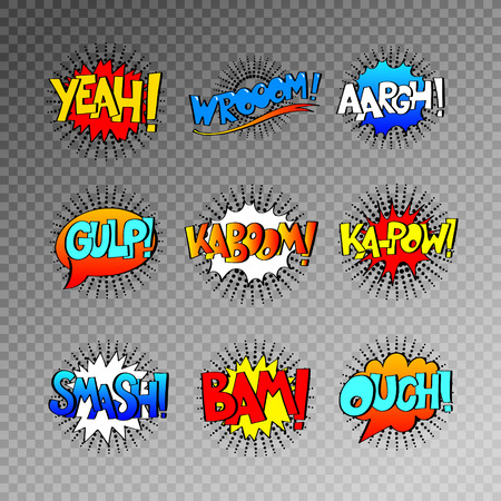 gulp: collection of nine multicolored comic sound effects in pop art style, bubble speech with word set, vector illustration eps10
