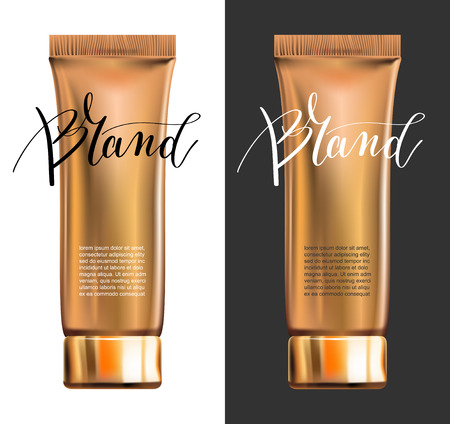 contained: toner contained in plastic tube with gold lid and place for your brand name text for ads or magazine banner of cosmetics, 3D vector illustration