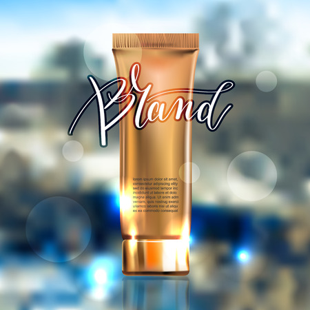 toner contained in plastic tube with gold lid and place for your brand name text for ads or magazine banner of cosmetics, cream, ointment, lotion, 3D vector illustration Illustration
