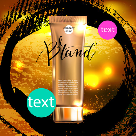 contained: toner contained in plastic tube with gold lid on circle pattern and place for your brand name text for ads or magazine banner of cosmetics, cream, ointment, lotion, 3D vector illustration eps 10 Illustration