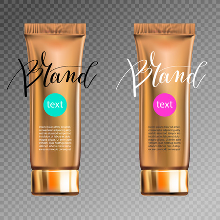 contained: toner contained in plastic tube with gold lid and place for your brand name text for ads or magazine banner of cosmetics, 3D vector illustration eps 10