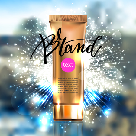 contained: toner contained in plastic tube with gold lid and place for your brand name text for ads or magazine banner of cosmetics, cream, ointment, lotion, 3D vector illustration eps10