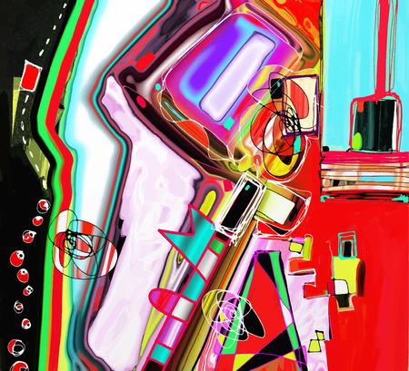 original illustration of abstract art digital painting Vector Illustration