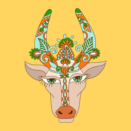 rural india: line decorative drawing of indian cow head, floral stylized Illustration