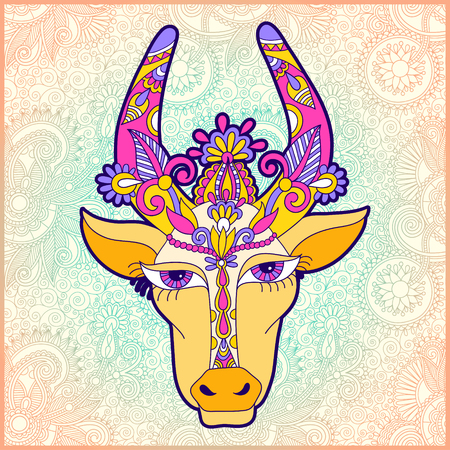 pongal floral paisley pattern with cow