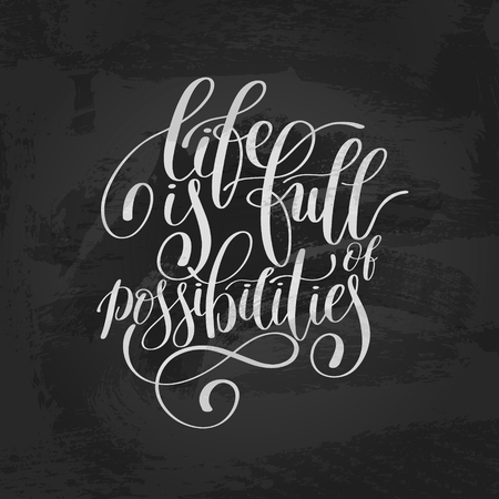 possibilities: Life is Full of Possibilities Inspirational Quote in English Illustration