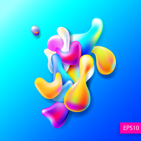 color splash: abstract bright colorful plasma drops shapes pattern isolated on Illustration