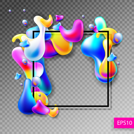 rainbow colors: abstract bright colorful plasma drops shapes with a black square Illustration